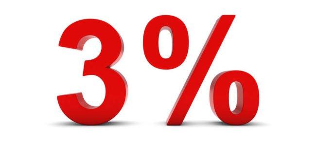 Drei Prozent Zinsen rote Schrift auf weißem Grund