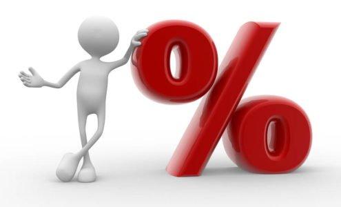 Eine 3D Figur lehnt sich an ein rotes Prozent Symbol günstige Zinsen mit Maxxkredit