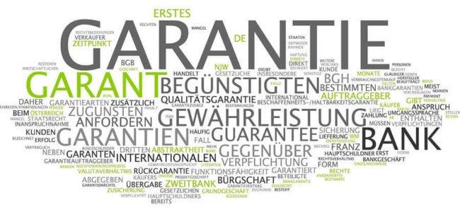 Word Cloud zum Thema Garantie