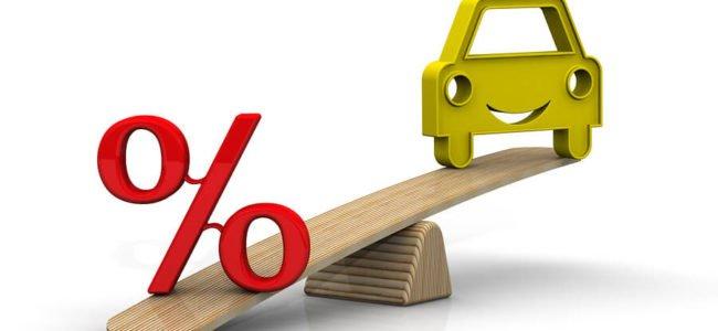 Rotes Prozentsymbol und ein Auto auf einer Wippe. Finanzierungsfragen beim Verkauf eines kreditfinanzierten Fahrzeugs.