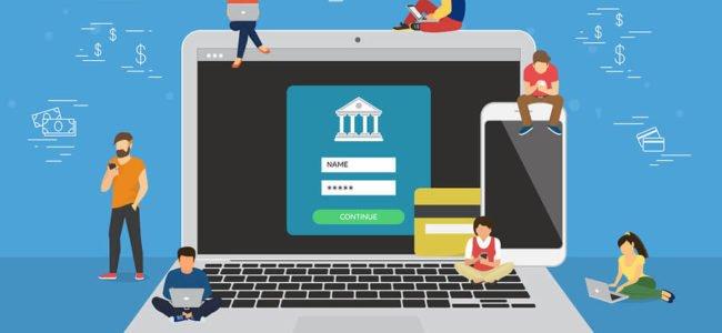 Karikatur mit Computer und Smartphone: digitales Banking