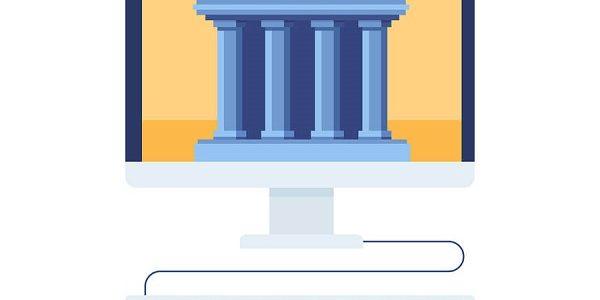 Symbolische Darstellung einer Online Bank, digitaler Postbank Kredit