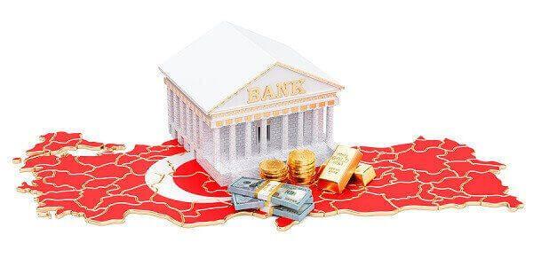 3-D Bild einer Bank über einem die Türkei abbildenden roten Mosaik: ISBank