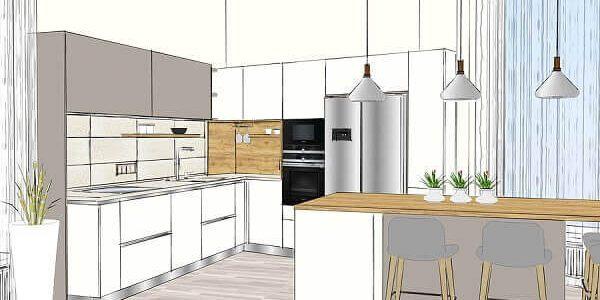 Darstellung eines anspruchsvollen modernen Küchen-Designs