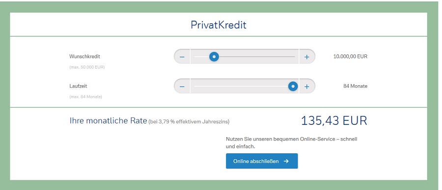 Screenshot Kreditrechner Privatkredit
